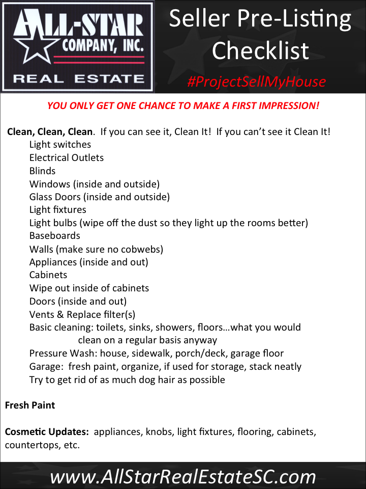 Project Sell My House: Pre-Listing Checklist - All-Star Real